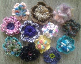 Set of hand made crochet flowers