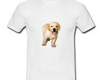 Men's white cotton T-shirt, animals, cute dog