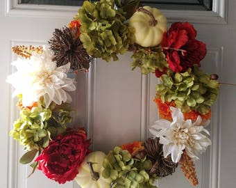 Fall Wreath- Pumpkin Wreath- Hydrangea Wreath *PRICE DROP*