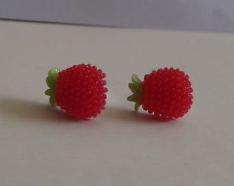"Small ""Stud Earrings"" silver plated and acrylic in the shape of pineapple, red and green leaves"