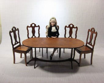 chairs table furniture for dolls Barbie FR 1:6 1/6 scale dollhouse diorama NEW 2017 handmade wooden v2