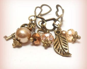 """Bronze ring charms beads """"Sweetness in pink cream!"""""""