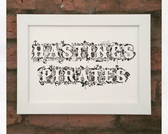 Personalised Illustrated Typographic Pirate Print