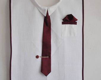 Adult bib with Burgundy tie for men