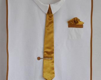 Adult bib tie gold