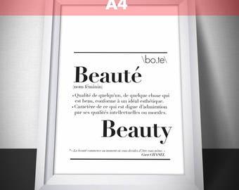 "Poster A4 size ""beauty"" definition: 21 x 29.7 cm"