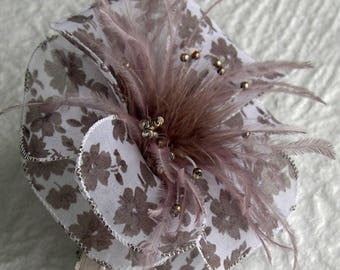 Large barrette flower fabric & feathers and pearls 030