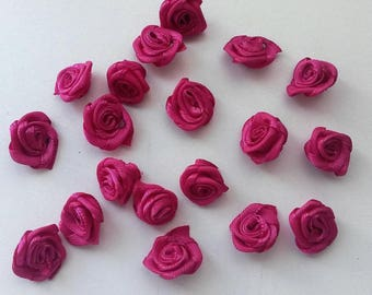 set of 10 hot pink satin flowers