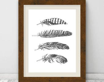 Feather Art Print, Watercolor Feather Print, Wall Art Print, Feather Print, Black White Print, Home Print, Instant Download, Digital Print