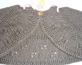 taupe 9/12 months hand knitted sleeveless Bolero