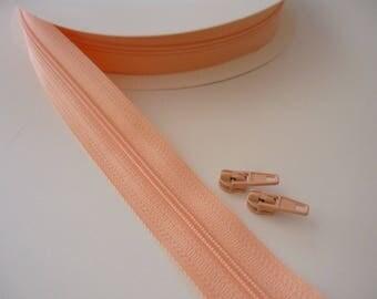 1 m zipper - salmon color - locking zipper sold per meter