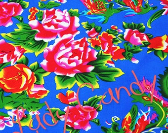 2 m fabric Chinese 145 x 200 cm / shades of blue floral / sewing #7104