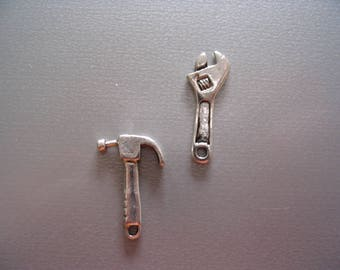 2 charms silver metal tools