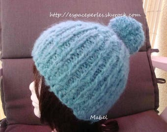 Turquoise large tassel, warm and soft Beanie