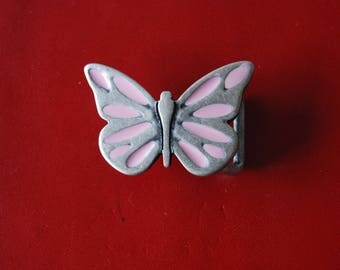 Floral bow tie, silver metal and pink.