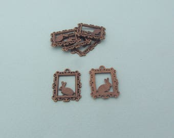 Set of 6 charms (pendants) rabbit in a bronze metal frame - Nickel free - Steampunk style