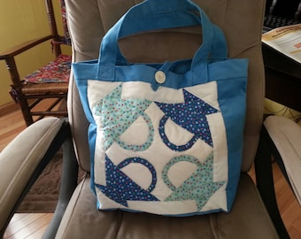 Home Crafted Tote Bag with Patchwork Front.