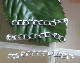 10 extension chains brass ends with twist chains, silver, 45 ~ 55 x 3.6 mm