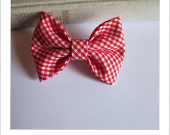 "hair bow ""clip - me"" red and white gingham"