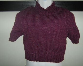 Pullover pupil short sleeves(rounds) hand-knitted