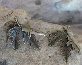 "Bronze earrings ""leaf collection"""