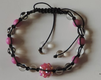 """Bracelet """"life in pink"""" glass and resin"""