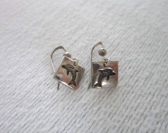 Vintage Sterling Silver Petite Dangle Pierced Earrings with Dolphins