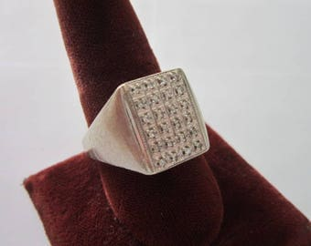 Retro Large Men's Silver with 24 Tiny Diamonds Statement Ring
