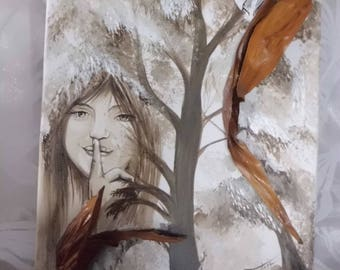 "Art Acrylic paint and mixed media original painting ""Hush""."
