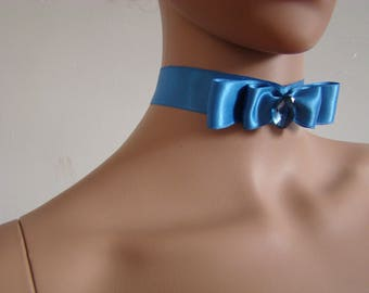 Royal blue satin neck Choker style Marie-Antoinette - 18th century