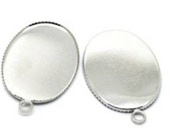 2 support 18 * 25 oval cabochon or silver plated polymer clay