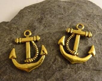 2 boat anchor gold Starfish charm 1 cm marine Navy summer