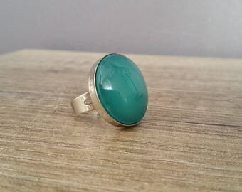 Turquoise glass cabochon Adjustable ring