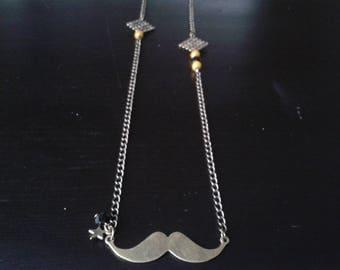 long mustache print square beads