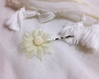 Tulle white wedding/baptism/party/ceremony flower Bobby pin hair clip