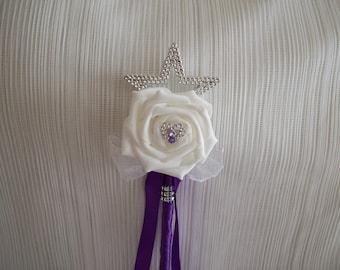 Cadbury purple & white flower girl wand. Wedding flowers.