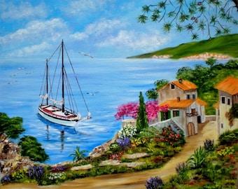 "Painting on canvas ""Seaside"""