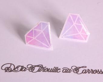 Simple Stud Earrings, pastel, purple and purple diamond pattern