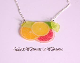 Citrus, grapefruit, lemon and orange necklace