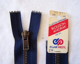 Navy zipper, metal, blue, 90 cm (Z19 570)