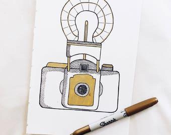 Flash Bulb Camera, Vintage Camera, Illustration, Framed Art, Pen and Ink, Wall Art