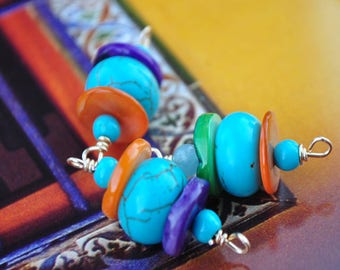 Connectors in turquoise and mother of Pearl orange fuschia and violet