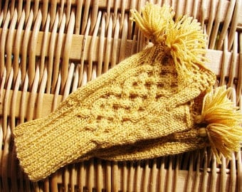 "Mittens ""Eachna"" in french extra fine Merino - yellow with gold"