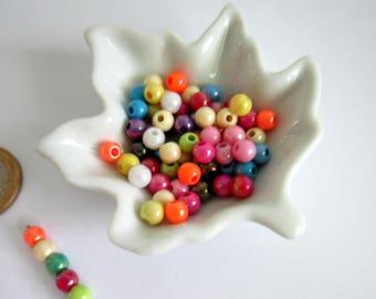 25 6 mm iridescent opaque acrylic round beads