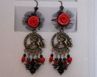 Tulle and marquise earrings
