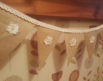 Hessian crochet bunting