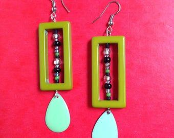 seed beads and khaki green rectangle earrings