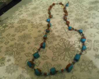 beautiful unique necklace turquoise and Brown
