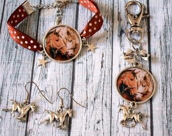Set bracelet earrings horses, horse jewelry and key / bag horse charm
