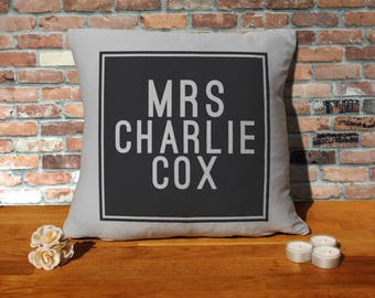 Charlie Cox Pillow Cushion - 16x16in - Grey